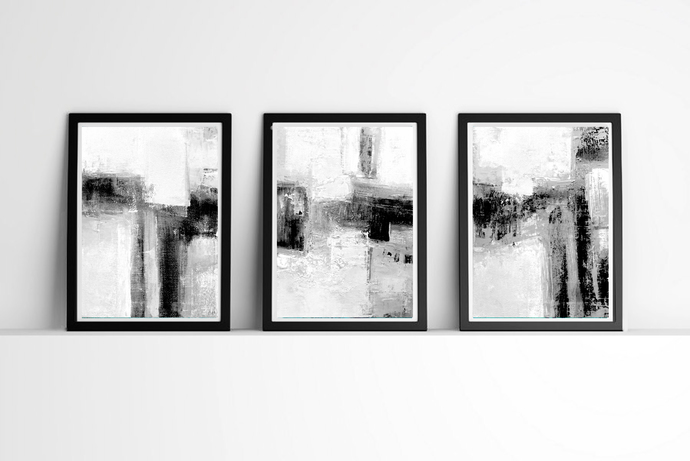 Minimalist art minimalist wall art abstract art set of 3 black and white