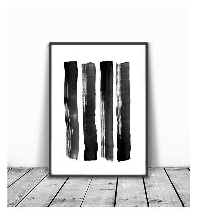 Brush Stroke Print, Black and White Abstract Wall Art, Instant Download,