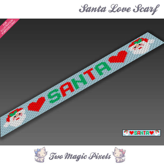Santa Love Scarf pattern; graph; pdf download; C2C row-by-row counts included