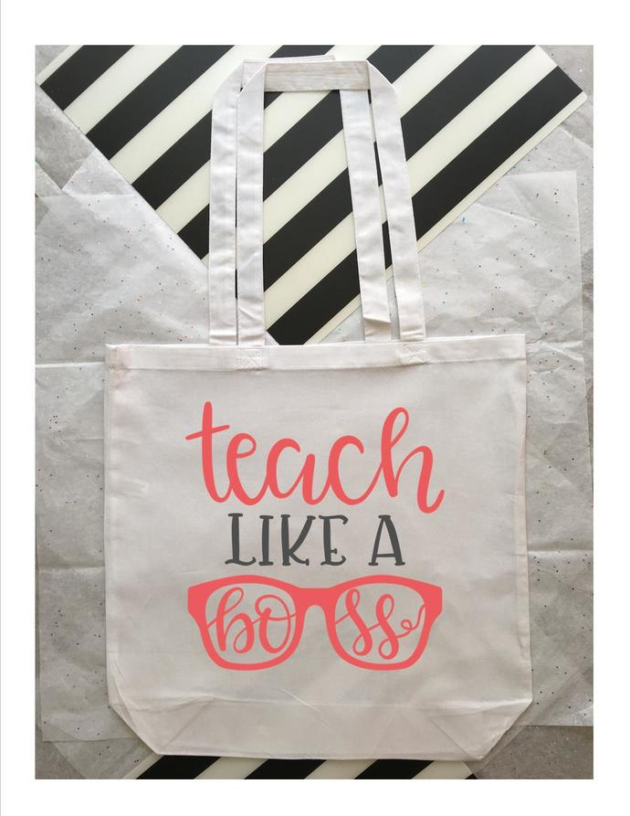 Teach Like a Boss, Custom Tote Bags, teacher gift ideas, holiday gifts