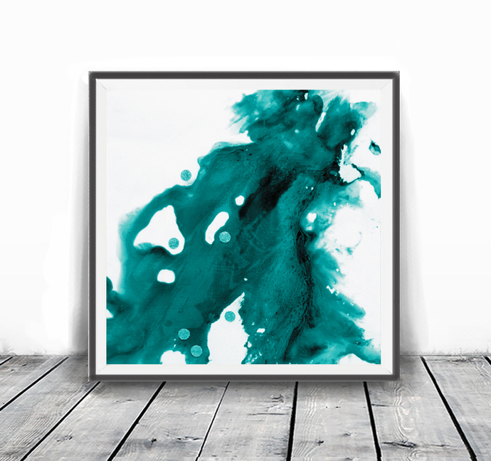 Printable abstract, teal and white, contemporary art, modern art , INSTANT