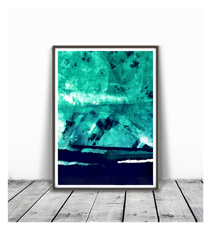Abstract Paintings, teal And White, Large Wall Art, Modern Painting, Modern Art,