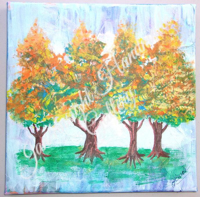 Autumn Quartet original mixed-media art piece, stretched canvas 10x10 inches