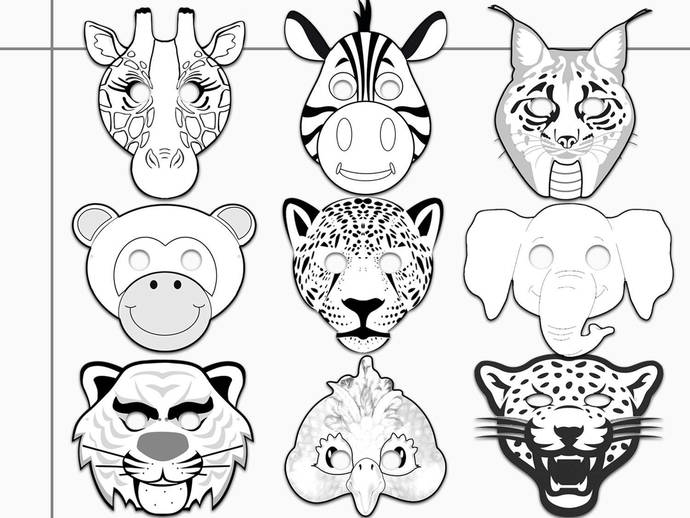 Jungle Animals Printable Coloring Masks, jaguar, tiger, leopard coloring, lynx