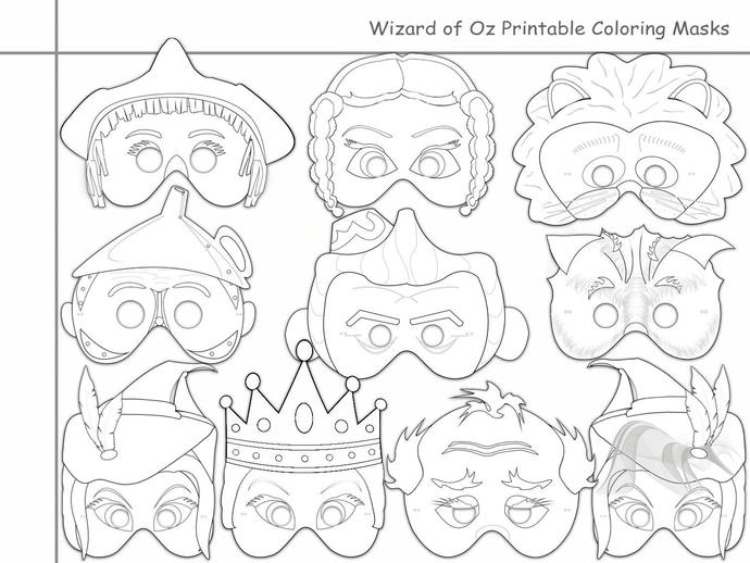 image relating to Printable Masks for Kids titled Wizard of Oz Printable Coloring Masks, youngsters dress, Dorothy mask, scarecrow mask, lion, oz masks, wizard masks, paper mask, Woodman mask