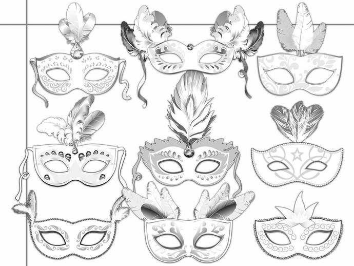 photo relating to Printable Masquerade Mask titled Masquerade Printable Coloring Masks, carnival coloring, paper mask, masquerade mask, printable paper mask, masquerade gown, celebration colour