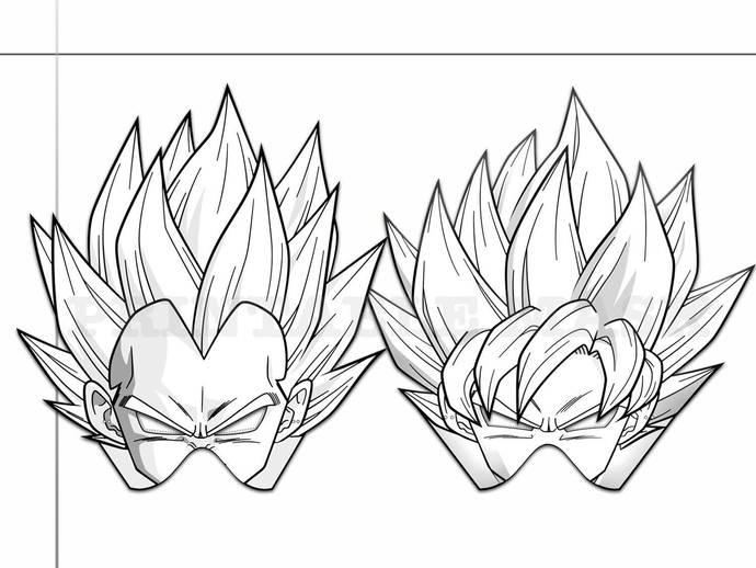 Coloring Pages Dragon Ball Z Party Printable Black and White Line Art Masks,