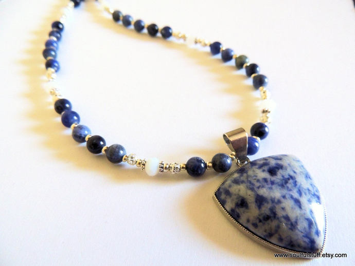 Sodalite Pendant Necklace, Statement Necklace, Handcrafted Jewelry, Blue