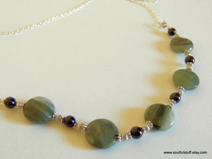 Labradorite Bib Necklace, Long Necklace, Gemstone Jewelry, Holiday Jewelry,