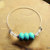 Turquoise and UV Sensitive Bangle, Turquoise and Silver, Color Changing Beads,