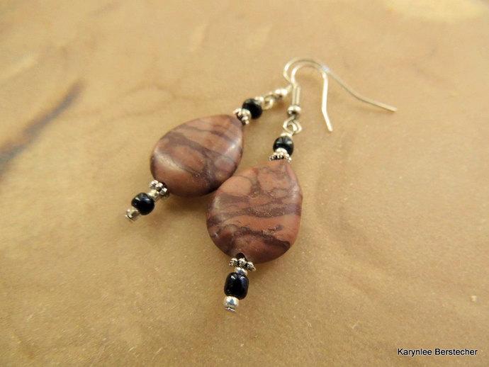 Picture Jasper Teardrop Earrings. Gemstone Earrings, Handcrafted Jewelry, Native