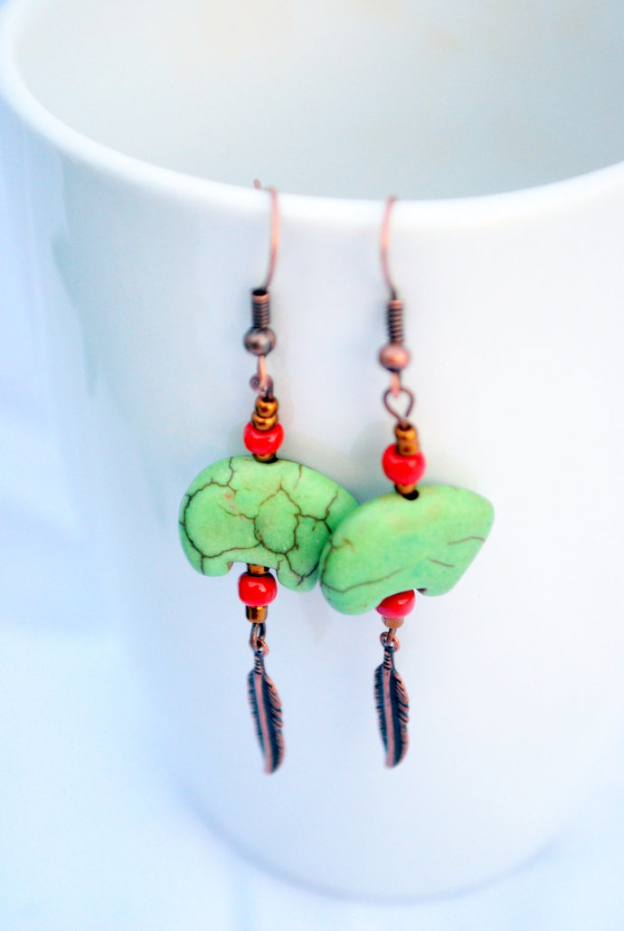 Sage Green Magnesite Bear Earrings, Dangle Earrings, Native Style, Green and