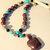 Turtle Pendant Necklace, Mahogany Obsidian and Turquoise, Bone Necklace,