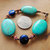 Turquoise and Lapis Bracelet, Chunky Bracelet, Turquoise and Copper, Lapis and