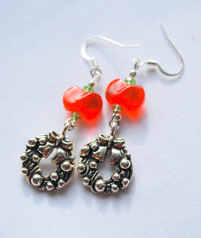 CLEARANCE----Holiday Wreath Earrings, Christmas Jewelry, Dangle Earrings, Red