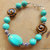 Turquoise Bracelet, Turquoise Jewelry, Turquoise and Brown, Rustic Jewelry,