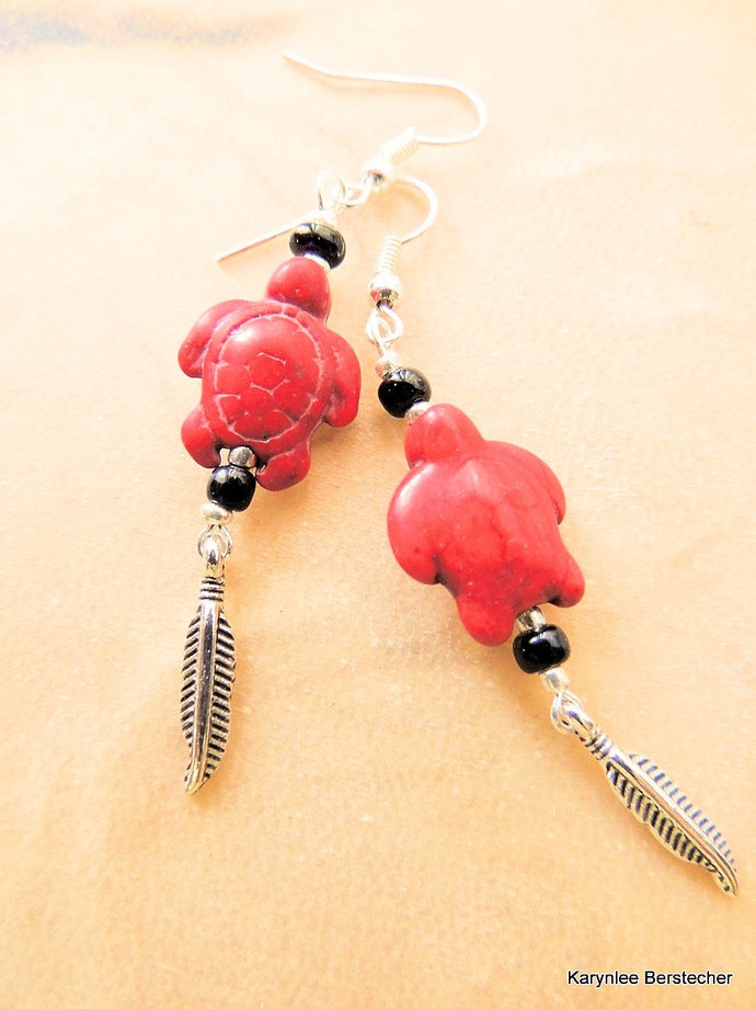 Red Magnesite Turtle Earrings with Silver Feather, Dangle Earrings, Native