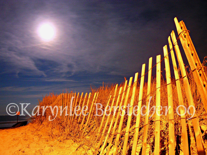 Moondance on the Beach, Fine Art Matted Photography, Moonscape Art, Beach Decor,