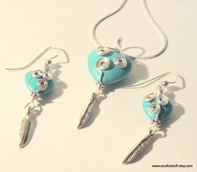 Jewelry Gift Set, Heart Jewelry, Turquoise Jewelry, Pendant and Earrings, Silver