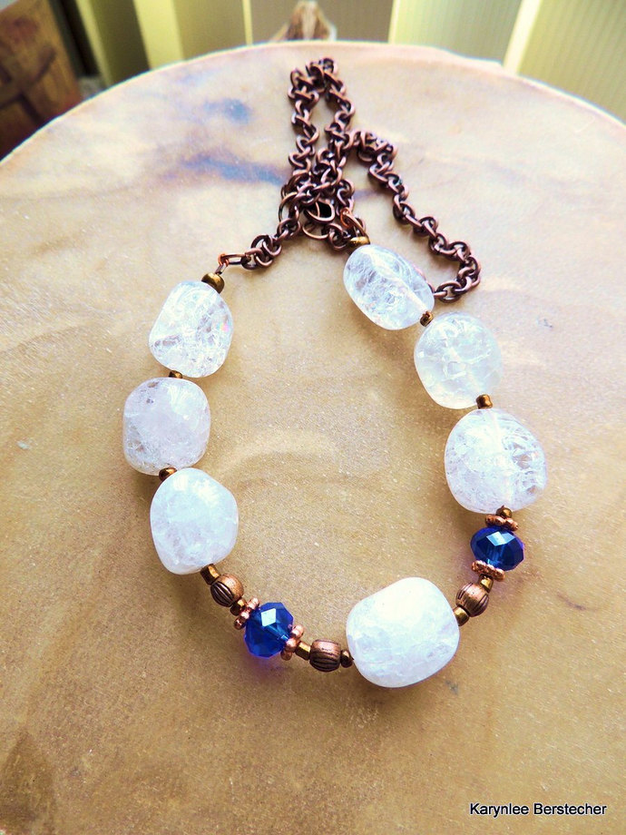 Crackle Quartz and Copper Necklace, Statement Necklace, Crystal and Cobalt Blue,