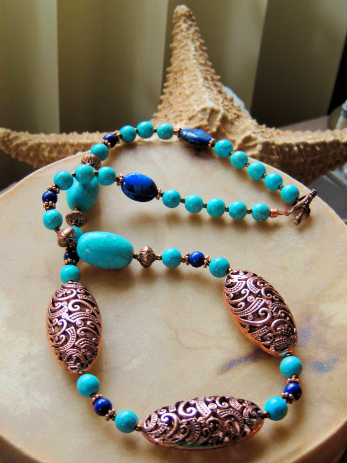 Turquoise and Copper Necklace, Turquoise Jewelry, Turquoise and Lapis Necklace,