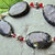 Fancy Black Jasper and Deep Red Crystal Bracelet, Black and Red, Gemstone