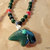 Bear Pendant Necklace, Green Jasper and Turquoise, Native Style, Handcrafted
