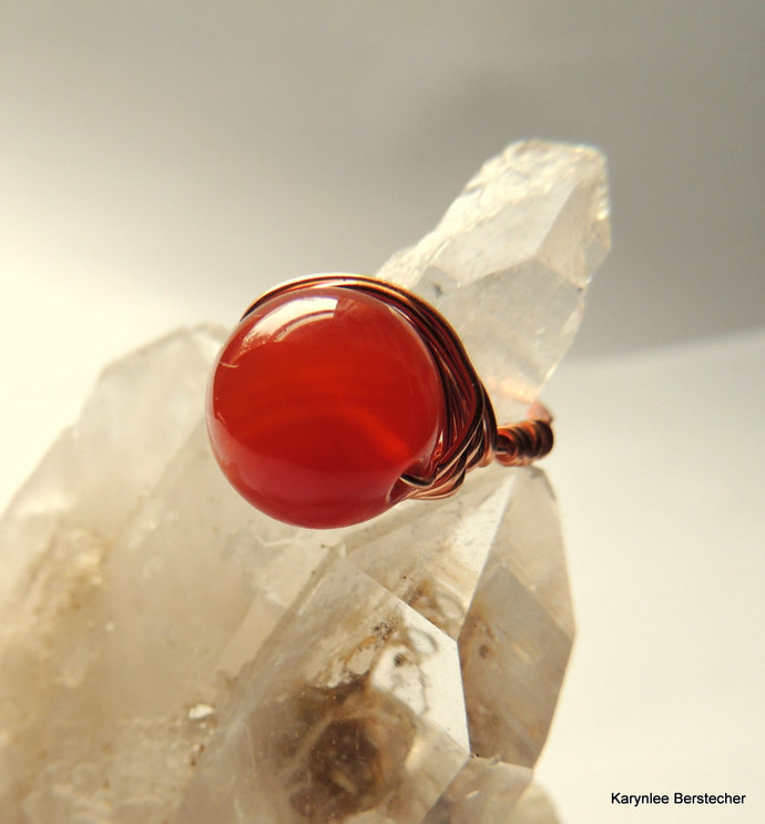 Chunky Carnelian and Copper Wire Wrap Ring, Gemstone Jewelry, Orange and Copper,