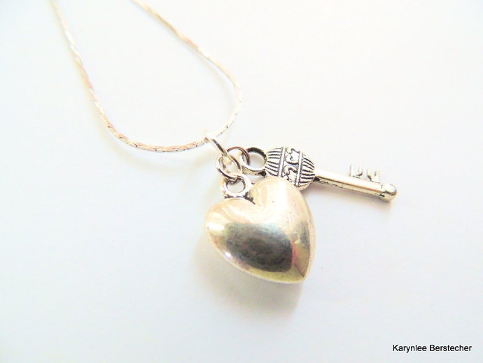 Heart and Key Pendant, Key to my Heart, Gift under 20, Handcrafted Jewelry,