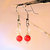 CLEARANCE---Fiery Red Coral  and Crystal Earrings, Dangle Earrings,  Handcrafted