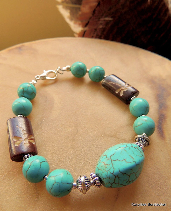 Turquoise Bracelet with Carved Dragonfly, Dragonfly Jewelry, Turquoise Jewelry,