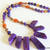 Agate Necklace, Agate Bib Necklace, Spike Necklace, Purple and Amber,