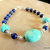 Amazonite and Lapis Bracelet, Sterling Silver, Chunky Bracelet, Handcrafted
