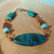 Chrysocolla and Turquoise Bracelet, Chrysocolla and Copper, Blue and Green,