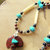 Bear Pendant Necklace, Native American Style, Mahogany Obsidian and Turquoise,