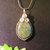 Green Jasper Teardrop Pendant, Silver Wire Wrap, Woven Bezel, Handcrafted