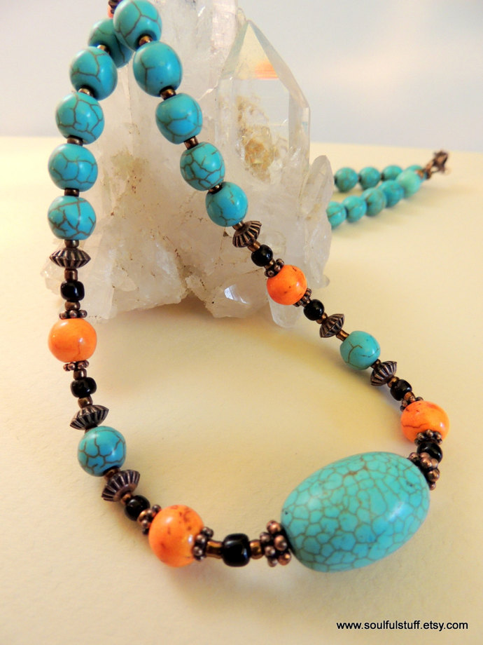 Turquoise Necklace, Copper Jewelry, Turquoise and Orange, Handcrafted Jewelry,