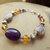 Amethyst and Amber with Dogtooth Amethyst Bracelet, Gemstone Bracelet, Purple