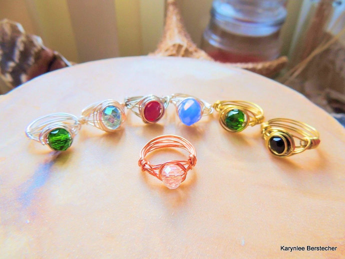 rasta color wire wrapped crystal rings
