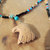 Eagle Pendant Necklace, Turquoise and Picture Jasper, Seed Bead Necklace, Native