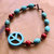 Turquoise and Red Coral Bracelet, Turquoise and Copper, Peace Bracelet, Hippie