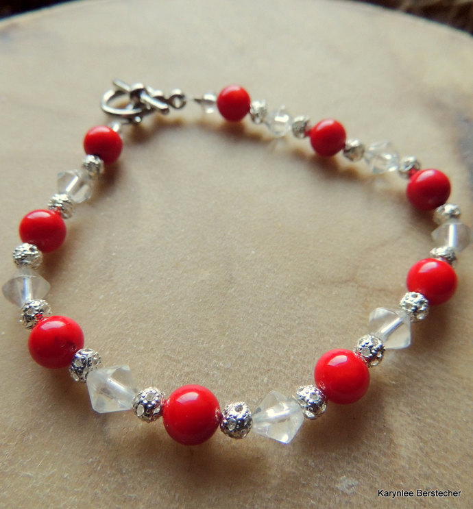 Red Coral and Sterling Silver Filigree Bracelet, Gemstone Bracelet, Holiday