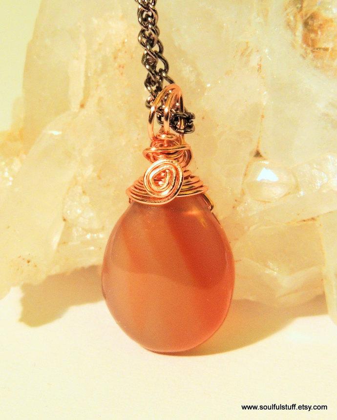 Carnelian pendant wire wrap by soulfulstuff creations on zibbet carnelian pendant wire wrap jewelry teardrop pendant handcrafted jewelry aloadofball Choice Image