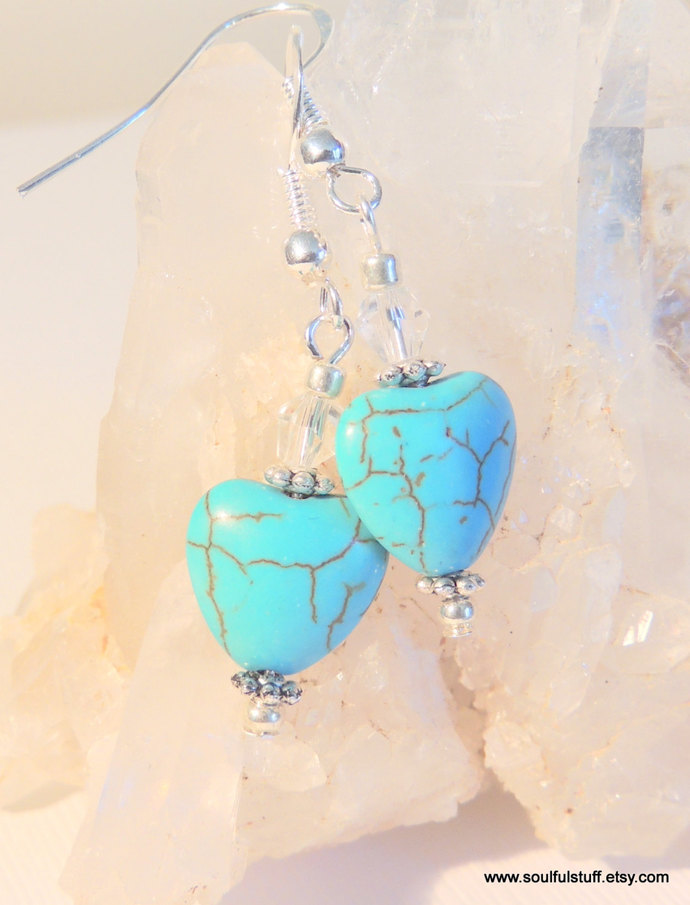 Turquoise Earrings, Heart Jewelry, Dangle Earrings, Sterling Silver Jewelry,