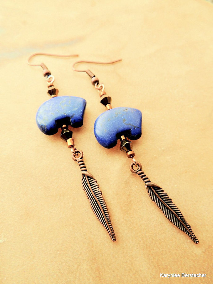 Bear Earrings, Dangle Earrings, Copper Jewelry, Blue and Copper, Native Style,