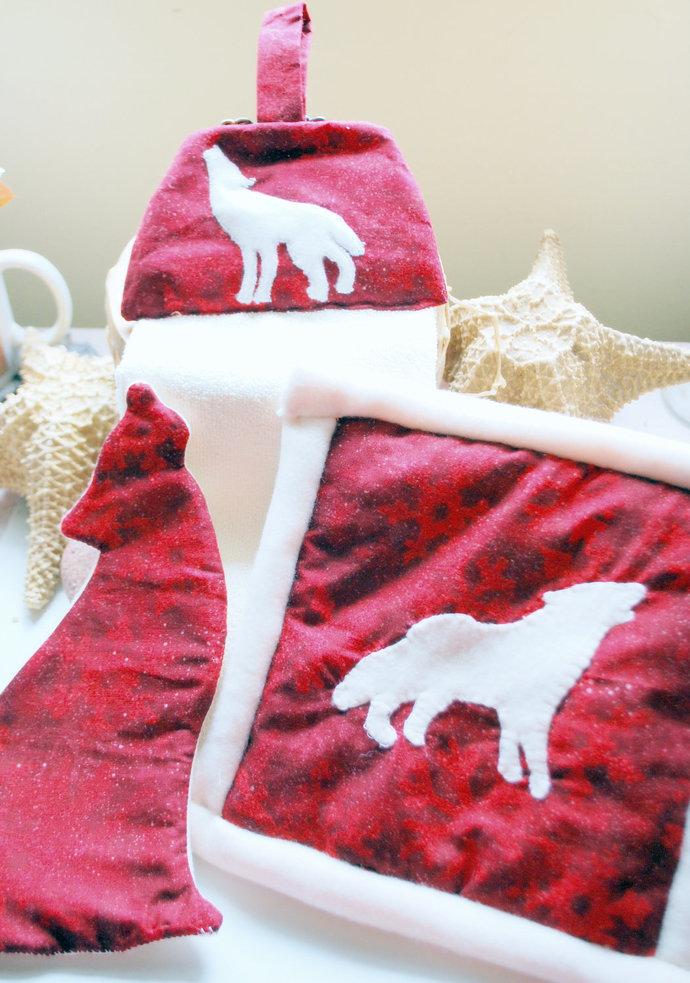 White Wolf Three Piece Kitchen Hostess Gift Set, Handcrafted Kitchen Decor,