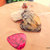 Dendritic Jasper Sterling Silver Wire Wrap Pendant, Heart Pendant, Purple and
