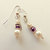 Pearl and Amethyst Crystal Earrings, Dangle Earrings, Purple and White, Purple
