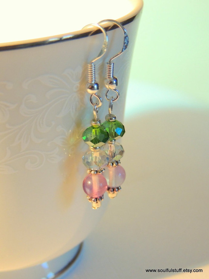 Fluorite Earrings, Sterling Silver Earrings, Gemstone Jewelry, Dangle Earrings,