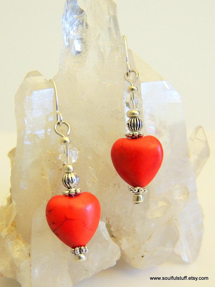 Red Heart Earrings, Dangle Earrings, Handcrafted Jewelry, Gemstone Jewelry,